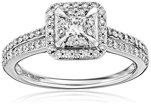 14k White Gold Princess Cut Centre Stone Diamond Bridal Engagement Ring (3/4cttw, I-J Color, I1-I2 Clarity), Size 7