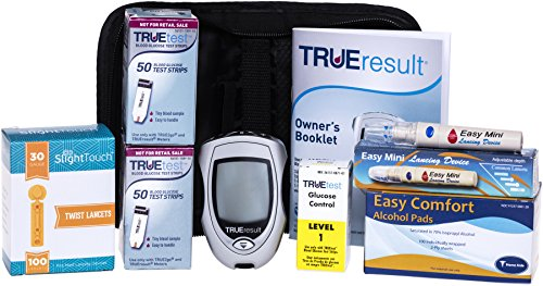 True Test Diabetes Testing Kit – True Result Meter, 100 True Test Strips, 100 30g Slight Touch Lancets, 100 Alcohol Pads, 1 Lancing Device and Control Solution