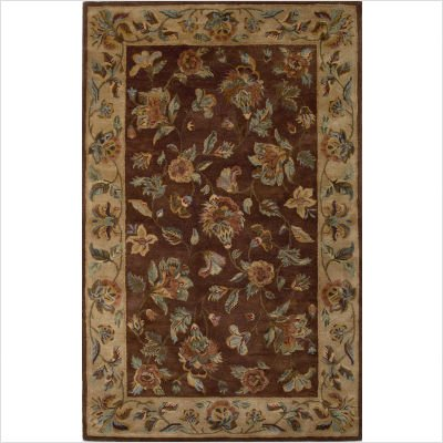 Capri Floral Vines Mocha and Beige Rug Size: Round 4'