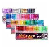 Gelmushta 120色セット ジェルボールペン 多色 中性 ボールペン 子供&大人の塗り絵 蛍光ペン 0.8~1.0 ケース付き
