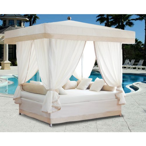Luxury Outdoor Lounge Bed with Canopy