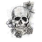 "RoomMates RMK3060TB Neutral Floral Skull Peel & Stick Giant Wall Decals, 19.12"" x 24.75"""