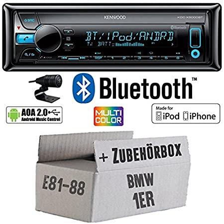 BMW 1er E81 E87 - Kenwood KDC-X5000BT - Bluetooth CD/MP3/USB VarioColor Autoradio - Einbauset
