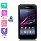 Voguecase Premium Tempered Glass Ultra Clear HD Screen Protector Screen Guard with Oleophobic Coating for Sony Xperia E1 (0.4 mm, 9H Hardness, 2.5D Rounded Edges) Crystal Clear with Polishing Cloth