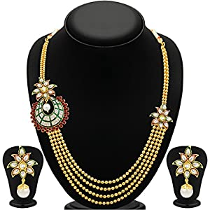 Sukkhi Intricately Four Strings Gold Plated Necklace Set