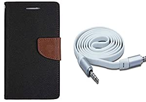 Novo Style Wallet Case Cover For Lenovo Vibe P1m Black + 3 feet Slim 3.5mm Music Record Stereo Audio Auxiliary AUX Cable Cord