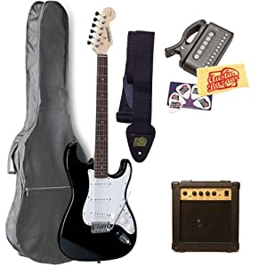Fender Starcaster Strat Electric Guitar Bundle with 10-Watt Amp, Gig Bag, Tuner, Strap, Picks, and Polishing Cloth - Black