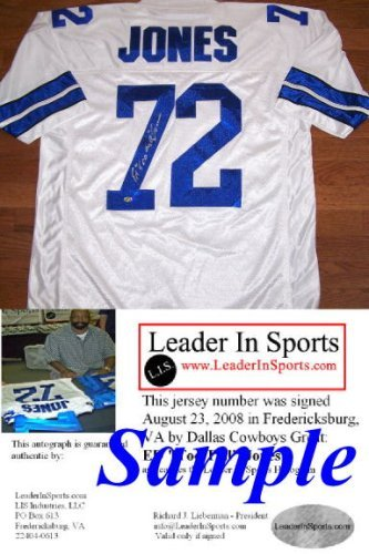 "Ed ""Too Tall"" Jones Signed White Jersey - Dallas Cowboys at Amazon.com"