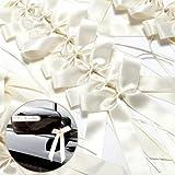 25 x Antennenschleifen Cream Autoschmuck Autoschleifen Hochzeit