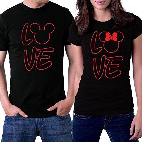 PicOnTshirt Love MM Couple T-shirts Men XL / Women L Black