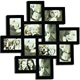 Adeco Black Wood 12 Openings Wall Collage Picture Frame, 4 x 6-Inch