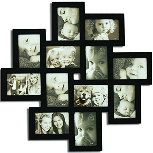 Adeco [PF0206] Decorative Black Wood Wall Hanging Collage Picture Photo Frame, 12 Openings, 4×6″