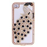 Black 3D Bling Crystal Diamond Peafowl Case Cover For Apple iPhone 4 4S Reviews