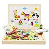 lewo magnético de madera juguetes de doble cara Dibujo caballete pizarra Doodle Puzzle Juegos para niños niñas