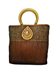 Bhamini Jute Raw Silk Combo Tilak Brooch Ethnic Handbag (Brown)