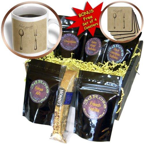 Cgb_110273_1 Ps Vintage - Fleur De Lis Bonne Appetite Fork And Spoon Vintage Kitchen Art - Coffee Gift Baskets - Coffee Gift Basket