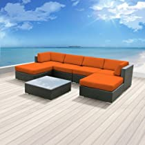 Hot Sale Luxxella Outdoor Patio Wicker MALLINA Sofa Sectional Furniture 7pc All Weather Couch Set ORANGE