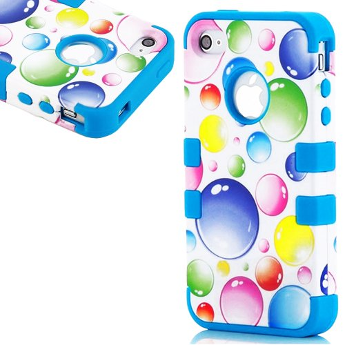 Mylife (Tm) Deep Sky Blue And White - Bubble Party Series (Neo Hypergrip Flex Gel) 3 Piece Case For Iphone 5/5S (5G) 5Th Generation Itouch Smartphone By Apple (External 2 Piece Fitted On Hard Rubberized Plates + Internal Soft Silicone Easy Grip Bumper Gel