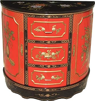 meuble chinois laque laque rouge demi lune 3 tiroirs. Black Bedroom Furniture Sets. Home Design Ideas