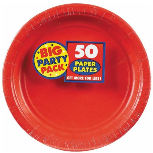 "Apple Red Big Party Pack - Red 7"" Paper Plate, 50 ct. - Dessert Plates"