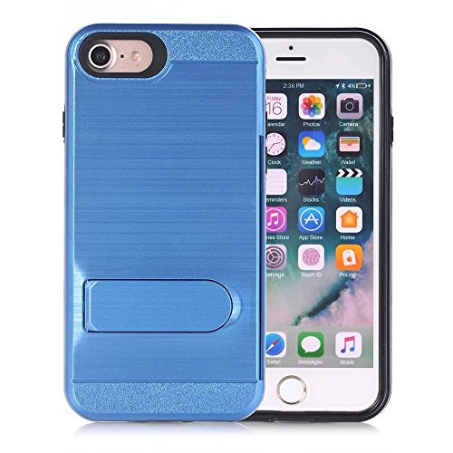 iPhone 7 Case, VPR Hybrid Slim Fit Rubber Silicone Cover Hard Plastic Teal Brushed Metal Design Kickstand Case with Hidden Credit Card Slot for iPhone 7 (2016) (Dark Blue) (Tabletop Screen Printing Press compare prices)