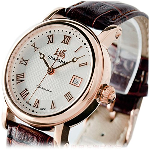 Luxury Brand Shanghai Automatic Mechanical Wrist Watches For Men Brown Genuine Leather