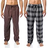 Noble Mount Mens 100% Cotton Flannel Lounge Pants 2-Pack - Many Patterns Available
