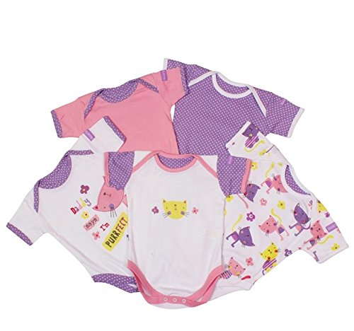 Pack of 5 Body Suits - Purrfect (Girls) (0-3 months)