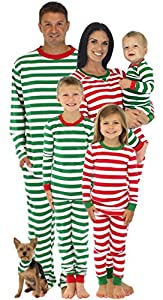 SleepytimePjs Family Matching Christmas Red or Green Striped Pajamas PJs Sets