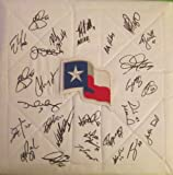 2013 Texas Rangers Team Autographed Texas State Flag Logo Full Size Base with 28 Signatures Total, Proof Photos