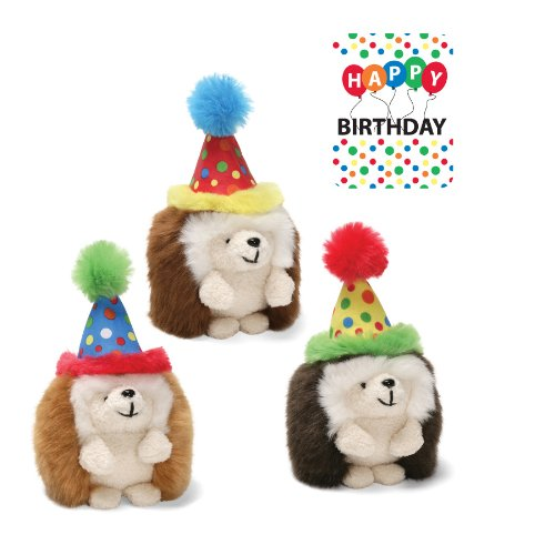 "Happy Birthday Ganley Hedgehog 4"" by Gund- 1 assorted Ganley sent - 1"