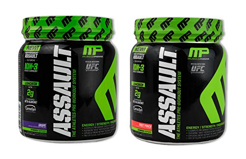 MusclePharm Assault Fruit Punch 30 serv/Grape 30 serv(1 of each) (Muscle Pharm Assault Grape compare prices)