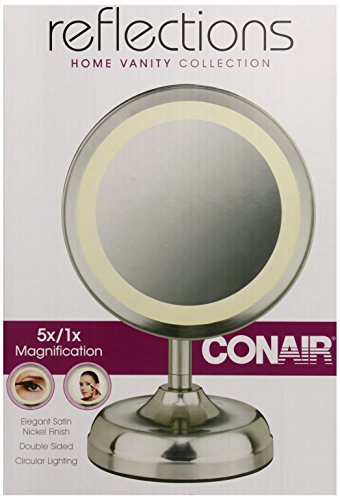 Conair Double-Sided Lighted Mirror, Satin Nickel Finish (Conair Natural Daylight Mirror compare prices)