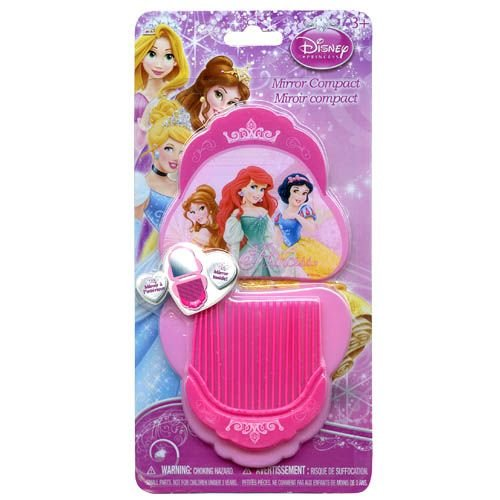 Disney Princess Compact Mirror and Comb Set on Blister Card