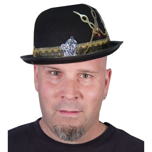 HMS Steampunk Derby Hat Timepiece and Chain Detailing, Black, One Size - 1