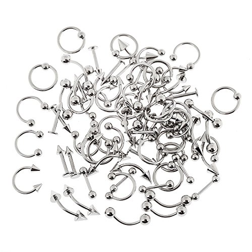 Yantu 50pcs Piercing Kit 18G Stainless Steel Body Piercing Belly Button,Tongue, Eyebrow, Nipple, Lip, Nose Jewelry (Eyebrow Rings Stainless Steel compare prices)