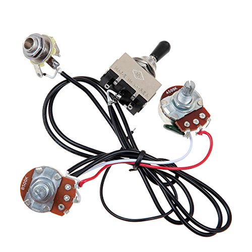 Kmise Electric Guitar Wiring Harness Prewired Kit 3 Way Toggle Switch 1 Volume 1 Tone 500K Pots 1 Set (Pot Switch compare prices)