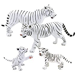 Happy Cherry 3D Emulated Wild Animals Model Set Box Set of 4 White Tigers