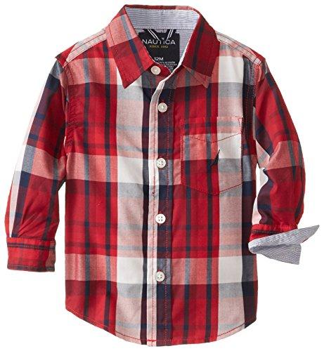 Nautica Babys Infant Woven Long Sleeve Plaid Shirt, Samba, 12 Months front-1022048