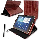 """Luxury Brown Crocodile PU Leather Case Cover Stand for CAMBRIDGE SCIENCES STARPAD 3 10SE 10.1"""" inch Tablet PC + Stylus Pen"""