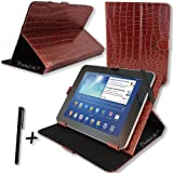 Luxury Brown Crocodile Leather Case Cover Stand for ARCHOS ARNOVA 10D G3 10DG3 10.1'' 10.1 INCH ANDROID TABLET PC + Stylus Pen