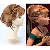 Anangel® Free Hair Cap+ for Adults for Kids Princess Frozen Snow Queen Brown Anna Wig Updo Wigs Snow Queen Cosplay Convention Costume Wigs