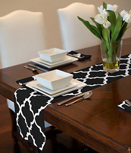 """Black and White Trellis Table Runner Mat Topper 12"""" x 90"""""""