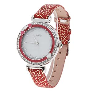 (JULIUS) Fashionable Waterproof Quartz Watch Wrist Watch Timepiece with Leather Strap for Women - Red SWWM2-121797