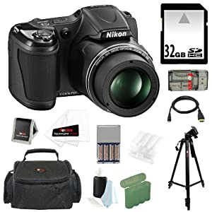 Nikon COOLPIX L820 16MP Digital Camera with 30x Optical Zoom and 3-inch LCD in Black + 32GB SDHC Memory Card + Focus Multi Card Reader + Micro HDMI Cable + 4 AA Rechargeable Batteries with Charger + Focus Photography Accessory Bag + Accessory Kit