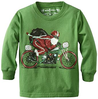 Wes and Willy Boys 8-20 Santa Biker Crewneck Tee, Kelly, Small
