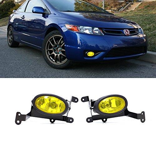 VioGi Fit:06-08 Honda Civic 2-Door Coupe Yellow Lens Fog Lights Kit w/ Bulbs+Switch+Wiring Harness+Relay+Bracket+Necessary Mounting Hardware (Relay Mounting Bracket compare prices)