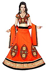 Priyanshu Creation Women's Net Orange Lehenga Choli