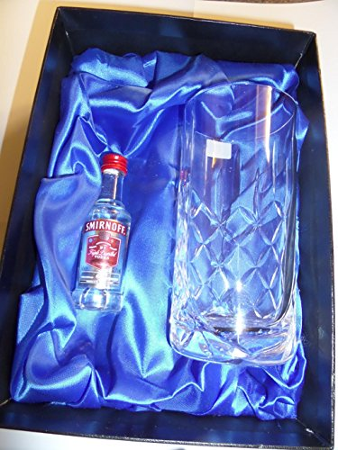 Trophy discount duty free Personalised Smirnoff Vodka Gift Set with 10oz Crystal Cut Hiball Glass and Miniature Bottle of Smirnoff Vodka with Free Engraving up to 30 Letters on the Glass, Complete with Silk Lined Gift Box. ideal christmas gift