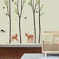 Giant Wall Sticker Decals - Birch Tree Forest with Deers and Flying Birds Baby (trees are 6 feet tall) from CherryCreek LLC